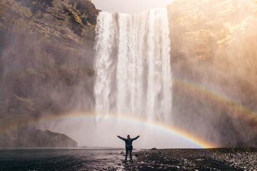 Man Waterfall and Rainbow